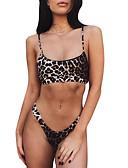 hesapli Bikiniler ve Mayolar-Kadın's Siyah Kahverengi Bej Tankini Mayolar - Leopar S M L Siyah