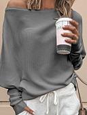 povoljno Ženski džemperi-Žene Jednobojni Dugih rukava Širok kroj Pullover, Spuštena ramena Crn / Obala / Red S / M / L