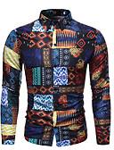 hesapli Erkek Gömlekleri-Erkek Pamuklu Klasik Yaka Gömlek Desen, Grafik / Kabile Temel / Sokak Şıklığı AB / ABD Beden Gökküşağı / Uzun Kollu