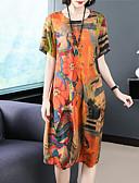 hesapli Print Dresses-Kadın's sofistike Kombinezon Elbise - Batik, Desen Diz-boyu Limon
