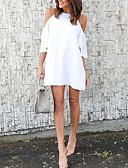 hesapli Mini Elbiseler-Kadın's Sokak Şıklığı A Şekilli Elbise - Solid, Şalter Kırk Yama Diz üstü Siyah Beyaz Kırmızı