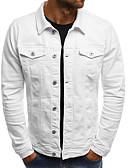 hesapli Erkek Ceketleri ve Kabanları-Erkek Günlük Normal Kurtki jeansowe, Solid Gömlek Yaka Uzun Kollu Polyester Turuncu / Koyu Mavi / Açık Mavi