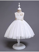 זול שמלות לילדות פרחים-נסיכה באורך  הברך שמלה לנערת הפרחים  - כותנה / פוליאסטר / טול ללא שרוולים עם תכשיטים עם תחרה / חגורה / בלוק צבע על ידי LAN TING Express