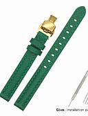 hesapli Deri Saat Bandı-Gerçek Deri / Deri / Buzağı Tüyü Watch Band kayış için Yeşil Diğer / 17cm / 6.69 inç / 19cm / 7.48 İnç 1cm / 0.39 İnç