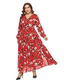 hesapli Kadın Elbiseleri-Kadın's A Şekilli Çan Elbise - Çiçekli, Bölünmüş Maksi