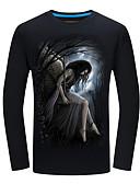 Недорогие Мужские футболки и майки-Муж. С принтом Футболка Уличный стиль 3D Черный US44 / UK44 / EU52