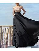 זול שמלות ערב-גזרת A סירה מתחת לכתפיים עד הריצפה שיפון / תחרה בלוק צבע ערב רישמי שמלה עם תחרה משולבת על ידי LAN TING Express