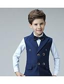 זול ז'קטים-נייבי כהה כותנה חליפה לנושא הטבעת  - 4 חלקים כולל וסט / חולצה / Pants