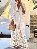 povoljno Majica-Žene Boemski stil Swing kroj Haljina - Kolaž, Jednobojni Duboki V Maxi / Veći konfekcijski brojevi / Širok kroj