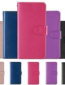 Недорогие Чехлы для телефонов-Кейс для Назначение Huawei Huawei Mate 20 Кошелек / Бумажник для карт / со стендом Чехол Однотонный Твердый Кожа PU