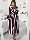 hesapli Kadın Elbiseleri-Kadın's Temel Kombinezon Elbise - Çizgili Midi