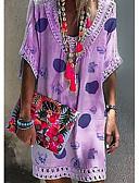 זול שמלות מיני-צווארון V מעל הברך מנוקד - שמלה ישרה בגדי ריקוד נשים