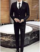 povoljno Odijela-Crn / Tamno mornarice / Svjetlo siva Jednobojni Standardni kroj Poliester Odijelo - Stepenasti Droit 1 bouton