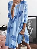 hesapli Mini Elbiseler-Kadın's A Şekilli Elbise - Çiçekli Diz-boyu