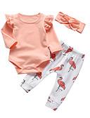 halpa Vauvojen vaatesetit-Vauva Tyttöjen Vapaa-aika / Aktiivinen Yhtenäinen / Painettu Painettu Pitkähihainen Pitkä Vaatesetti Oranssi