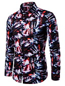זול חולצות לגברים-קשירה וצביעה רוק / סגנון רחוב חולצה - בגדי ריקוד גברים דפוס שחור ואדום אודם