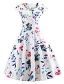זול מלכת הוינטאג'-מידי דפוס, פרחוני - שמלה שיפון וינטאג' סגנון רחוב בגדי ריקוד נשים