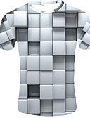 """זול טישרטים לגופיות לגברים-3D צווארון עגול בסיסי האיחוד האירופי / ארה""""ב גודל טישרט - בגדי ריקוד גברים לבן / שרוולים קצרים"""