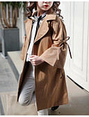cheap Girls' Tops-Kids Girls' Active Sophisticated Solid Colored Lace up Long Cotton Polyester Trench Coat Khaki