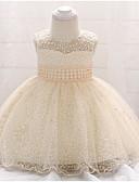 זול שמלות לילדות פרחים-נסיכה עד הריצפה שמלה לנערת הפרחים  - פוליאסטר ללא שרוולים עם תכשיטים עם תחרה / פרטים מפנינה על ידי LAN TING Express