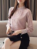 hesapli Bluz-Kadın's Gömlek Dantel / Püskül / Kırk Yama, Solid Temel Beyaz