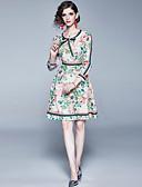hesapli Maksi Elbiseler-Kadın's Zarif A Şekilli Elbise - Geometrik, Fırfırlı Bağcık Diz üstü