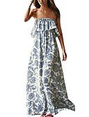 hesapli Maksi Elbiseler-Kadın's Temel Kombinezon Elbise - Solid Çiçekli, Çiçek Tarzı Düşük Omuz Maksi / Salaş