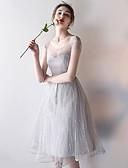 hesapli Mini Elbiseler-Kadın's Zarif A Şekilli Elbise - Geometrik Diz-boyu