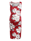 זול מכנסיים וחצאיות-עד הברך דפוס, פרחוני קולור בלוק - שמלה צינור בסיסי בגדי ריקוד נשים