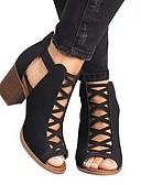povoljno Nježna čipka-Žene Cipele na petu Blok pete Otvoreno toe PU Ljeto Crn / Žutomrk