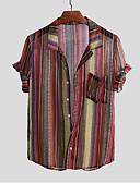 hesapli Erkek Gömlekleri-Erkek Pamuklu Gömlek Desen, Geometrik Temel AB / ABD Beden Kahverengi / Kısa Kollu