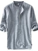זול חולצות לגברים-אחיד צווארון עומד(סיני) וינטאג' / סגנון סיני פשתן, חולצה - בגדי ריקוד גברים כחול נייבי / שרוול ארוך
