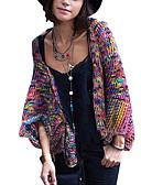 preiswerte Bluse-Damen Regenbogen Langarm Strickjacke, ohne Kragen Herbst Regenbogen L / XL / XXL