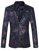 זול עניבות ועניבות פרפר לגברים-בגדי ריקוד גברים Party / יום הולדת פעיל אביב קיץ / סתיו חורף רגיל ג'קט, גיאומטרי דש קלאסי שרוול ארוך פוליאסטר כחול נייבי / יין