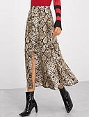 hesapli Kadın Etekleri-Kadın's Bandaj Etekler - Yılan Derisi Bölünmüş Kahverengi M L XL