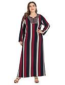 halpa Pluskokoiset mekot-Naisten Vintage Perus Suora Mekko - Raidoitettu, Kirjailtu Maxi