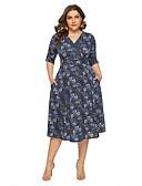 זול שמלות במידות גדולות-מידי דפוס, פרחוני - שמלה גזרת A בסיסי בגדי ריקוד נשים