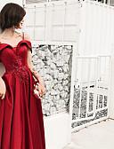 זול שמלות ערב-גזרת A רצועות ספגטי עד הריצפה סאטן / סאטן נמתח / תחרה פרחונית גב פתוח נשף רקודים שמלה עם חרוזים / תחרה משולבת על ידי LAN TING Express