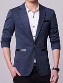 זול ז'קטים-נייבי כהה אחיד גזרה רגילה פוליסטר חליפה - פתוח Single Breasted One-button