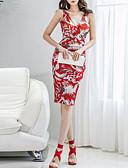 hesapli Print Dresses-Kadın's Zarif Bandaj Elbise - Çiçekli, Bölünmüş Diz-boyu