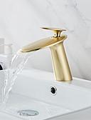 זול מטען כבלים ומתאמים-ברז הגדר - מפל מים מוברש / זהב אדום סט מרכזי חור ידית אחת אחתBath Taps