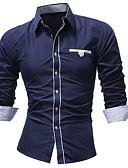 hesapli Erkek Gömlekleri-Erkek Gömlek Solid Sokak Şıklığı Siyah