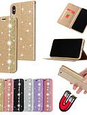 זול מגנים לאייפון-מארז iPhone XS מקס / iPhone 8 פלוס מבריק / shockproof / מחזיק כרטיס לכסות בחזרה נצנוץ ברק / מוצק צבע רך עור pu עבור iPhone 7/7 פלוס / 8/6/6 פלוס / xr / x / xs
