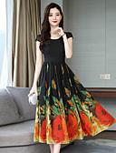 hesapli Maksi Elbiseler-Kadın's A Şekilli Elbise - Geometrik Midi