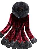 billige Kvinner Fur & Faux Fur Coats-Dame Daglig Normal Faux Fur Coat, Ensfarget Med hette Langermet Fuskepels Vin / Grønn / Grå