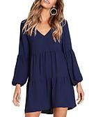 hesapli Mini Elbiseler-Kadın's Temel Kombinezon Elbise - Solid Diz üstü