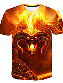 cheap Men's Clothing-Men's Club Beach Street chic / Exaggerated T-shirt - 3D / Animal / Skull Print Orange