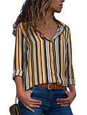 cheap Women's Shirts-Women's Daily Wear Street chic / Elegant Blouse - Striped Patchwork Light Blue