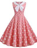 hesapli Vintage Kraliçesi-Kadın's Sokak Şıklığı Çan Elbise - Kareli, Desen Diz-boyu