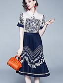 hesapli Print Dresses-Kadın's Temel Çin Stili A Şekilli Çan Elbise - Solid Zıt Renkli, Kırk Yama Desen Diz-boyu